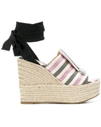 Sergio Rossi | Striped Ankle Tie Sandals | Lyst
