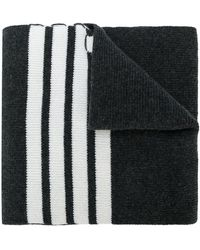 Thom Browne - Full Needle Rib Scarf With White 4-bar Stripe In Cashmere - Lyst