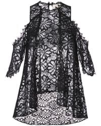 Nicole Miller - Lace Flared Pattern Transparent Top - Lyst