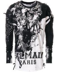 Balmain - Printed Logo Sweatshirt - Lyst