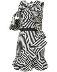Self-Portrait - Striped Frill Embellished Dress - Lyst