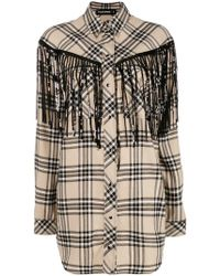 Filles A Papa - Fringed Checked Shirt - Lyst