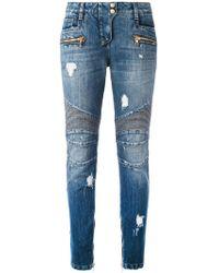 Balmain - Distressed Biker Jeans - Lyst