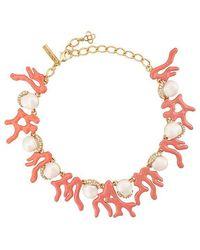 Oscar de la Renta - Crystal Pearl Embellished Necklace - Lyst