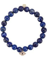 Sydney Evan - 14kt Gold, Diamond And Sapphire Evil Eye Lapis Lazuli Beaded Bracelet - Lyst