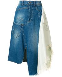 Each x Other | Asymmetric Panelled Denim Skirt | Lyst