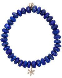 Sydney Evan - Lapis Beaded Bracelet With Diamond Flower Charm - Lyst