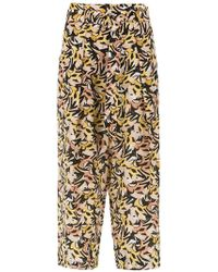 Andrea Marques - Printed Silk Trousers - Lyst