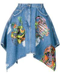 Jeremy Scott - Print Flared Denim Skirt - Lyst