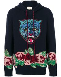 Gucci - Angry Cat Knitted Hoodie - Lyst
