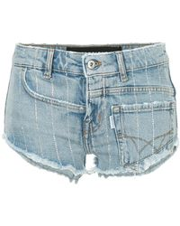 Filles A Papa - Fitted Denim Shorts - Lyst
