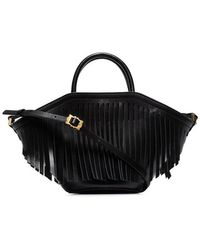 Trademark - Black Small Leather Fringed Tote Bag - Lyst
