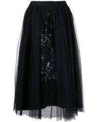 N°21 | Gabi Black Embellished Tulle Midi Skirt | Lyst