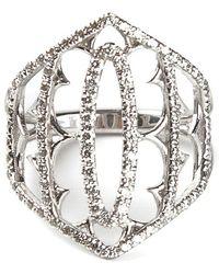 Loree Rodkin - White Gold And Grey Diamond Pavé Shield Ring - Lyst