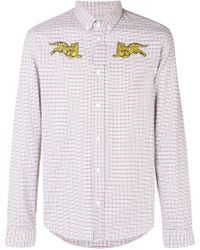 KENZO - Embroidered Tiger Checked Buttondown Shirt - Lyst
