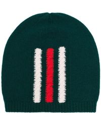 7bcc962590dad Gucci - Green Web Knitted Wool Beanie Hat - Lyst