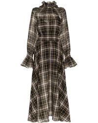 Beaufille - Sol High Neck Check Print Cotton Silk Blend Dress - Lyst
