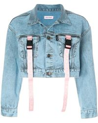 Palm Angels - Buckle Strap Cropped Denim Jacket - Lyst