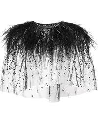 Monique Lhuillier - Embroidered Ostrich Feather Bolero - Lyst