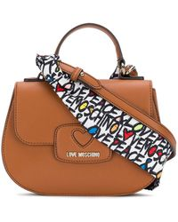 Love Moschino - Small Satchel Bag With Printed Shoulder Strap - Lyst