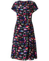 Emporio Armani | Sea Print Midi Dress | Lyst
