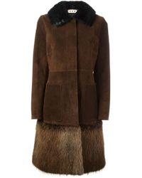 Marni - Beaver Fur Trim Coat - Lyst
