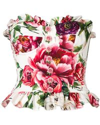 Dolce & Gabbana - Peony Print Bustier Top - Lyst