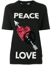 Love Moschino - Peace Love T-shirt - Lyst