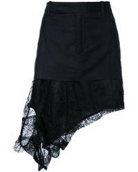 A.F.Vandevorst - Asymmetric Lace Hem Mini Skirt - Lyst