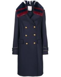Pinko - Faux Fur Collar Military Coat - Lyst