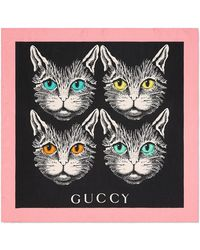 Gucci | Mystic Cat Print Silk Scarf | Lyst