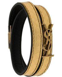 Saint Laurent - Ysl Double Wrap Bracelet - Lyst