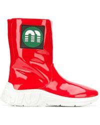 Miu Miu - Logo Patch Boots - Lyst