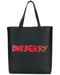 Burberry - Graffiti Print Bonded Leather Tote - Lyst