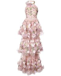 Marchesa notte - Woman Embellished Tulle Gown Pastel Pink - Lyst