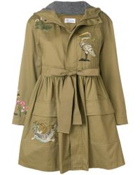 RED Valentino - Embroidered Parka Coat - Lyst