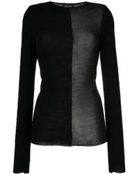 Andrea Ya'aqov - Sheer Contrast Knit Top - Lyst