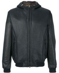 Etro - Hooded Leather Jacket - Lyst
