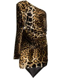 Saint Laurent - One Shoulder Leopard Print Dress - Lyst