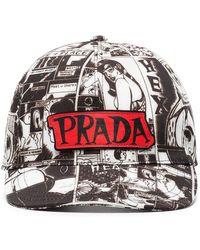 Prada - Black And White Cartoon Print Cotton Cap - Lyst