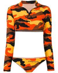Off-White c/o Virgil Abloh - Camouflage Print Long-sleeved Bikini - Lyst
