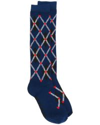 MSGM - Plaid Embroidered Socks - Lyst
