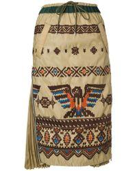 Sacai - Embroidered Midi Skirt - Lyst
