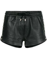 Moschino - Embellished Leather Shorts - Lyst