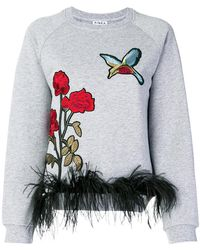Ainea - Ostrich Feather Trim Embroidered Jumper - Lyst