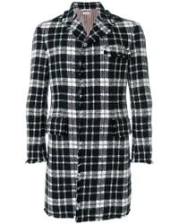Thom Browne - Tweed Tartan Check High-armhole Chesterfield Overcoat - Lyst