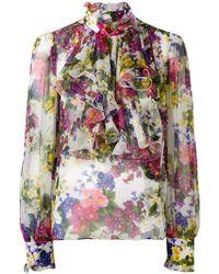 dbad9b3a7a Dolce & Gabbana - D&g Ruffle Silk Blouse - Lyst