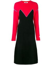 MSGM - Colour-block Knitted Dress - Lyst