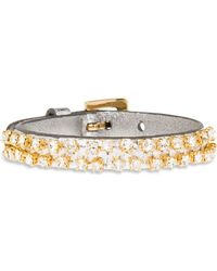 Miu Miu - Tejus Leather Bracelet With Crystals - Lyst