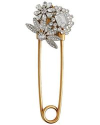Burberry - Crystal And Brass Oversized Pin - Lyst